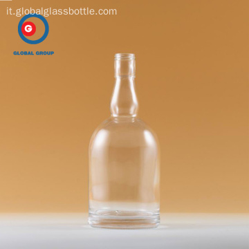 Vodka Bottle Round Shape Transparent Clear Glass